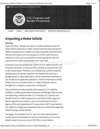 U.S Customs and Border Protection Importing a Motor Vehicle
